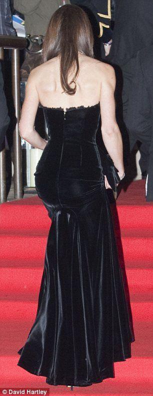 Duchess of Cambridge in a strapless black velvet McQueen