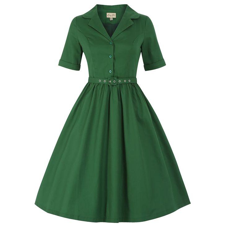 Bletchley Green Shirt Swing Dress | Vintage Style Dresses - Lindy Bop