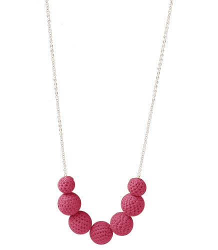 Silver chain, crochet balls necklace in fun fuchsia! Matching earrings available. www.indigoheart.com.au