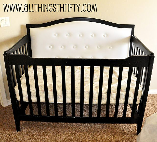 DIY Upholstered Crib, this looks time consuming but I LOVE IT! Hey, you have 9 months to convince the husband to help right??