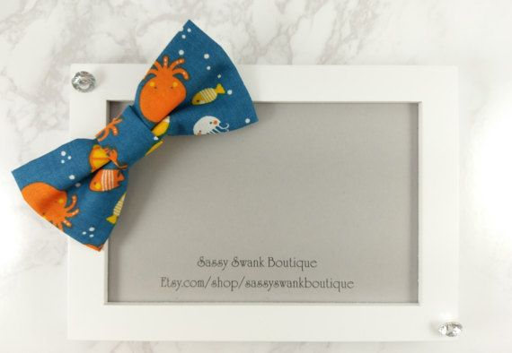 Fish Clip On Bow Tie  Baby Clip On Bow Tie  by SassySwankBoutique