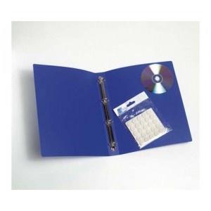 Blister con 100 botones adhesivos color blanco del tamaño del agujero central del Cd-DVD (15 mm.) Ideales para adjuntar un CD con cualquier carpeta o archivador.