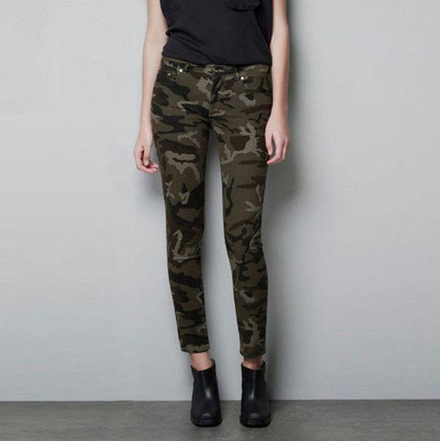 2016 Jaarlijkse Populaire Camouflage Slanke Elastische Vrouwen Broek vrouwen Leger Cargo Potlood Pant Uniform Womens Broek Gratis Verzending(China (Mainland))