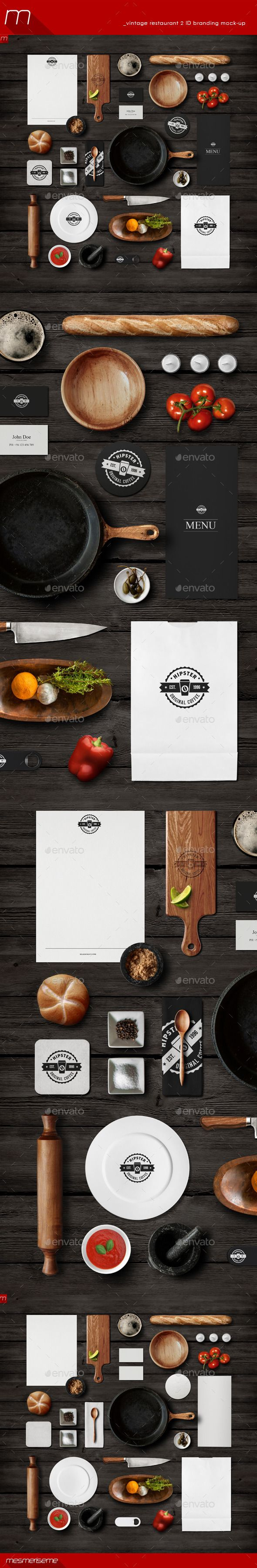 Vintage Restaurant 2 Identity Branding Mock-up - Miscellaneous Product Mock-Ups