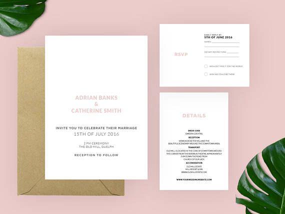 Modern Wedding Invitation Suite | Wedding Invite | Wedding Printable | Modern Invitation | Printable Wedding Template | Invitation Set