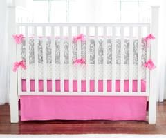 Gray & Hot Pink Damask Wisteria Baby Bedding Set    Love this shade of pink with the gray