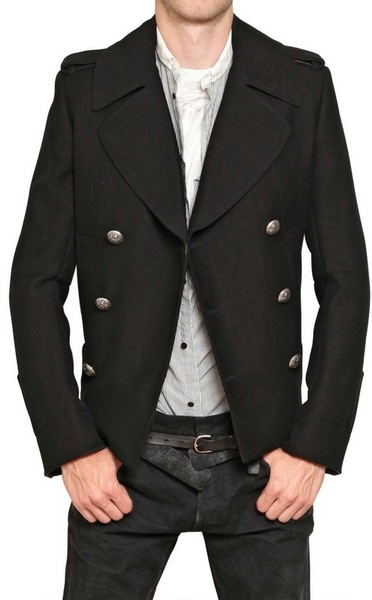 I Like The On Placement Cotton, Black Cotton Pea Coat