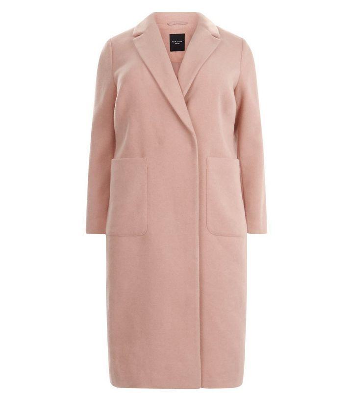 Curves - Maxi manteau rose à deux poches | New Look