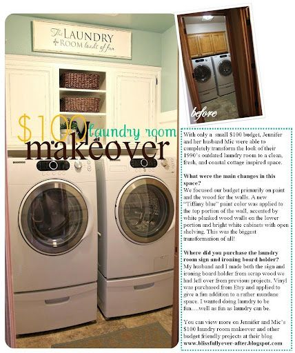 Love this laundry room idea, granted ours is a bit bigger than this, so I am thinking cupboards over shelves next to the washer and dryer and a counter over the washer and dryer for folding!  We shall see!  ~Desiree~