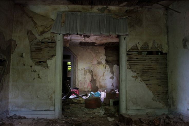 Image by Seph Lawless; I looked at a series of images that Seph Lawless did, exploring abandoned homes that usually had homeless people camping in them. I looked specifically at this for inspiration with homes that are structurally falling apart.