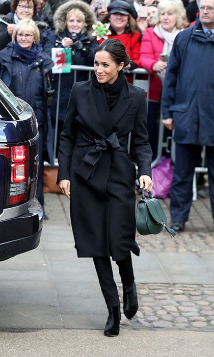 Meghan Markle dressed all in black for her arrival at Cardiff