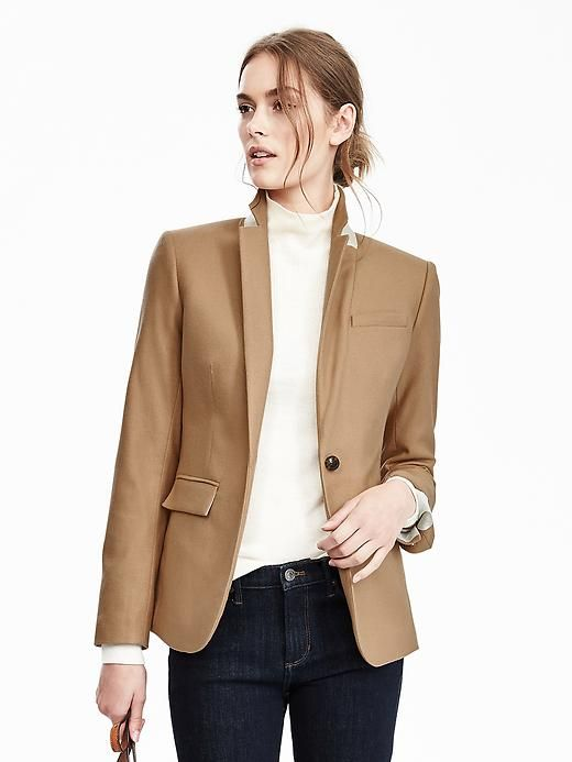 Camel structured blazer in petite sizing. The button ...