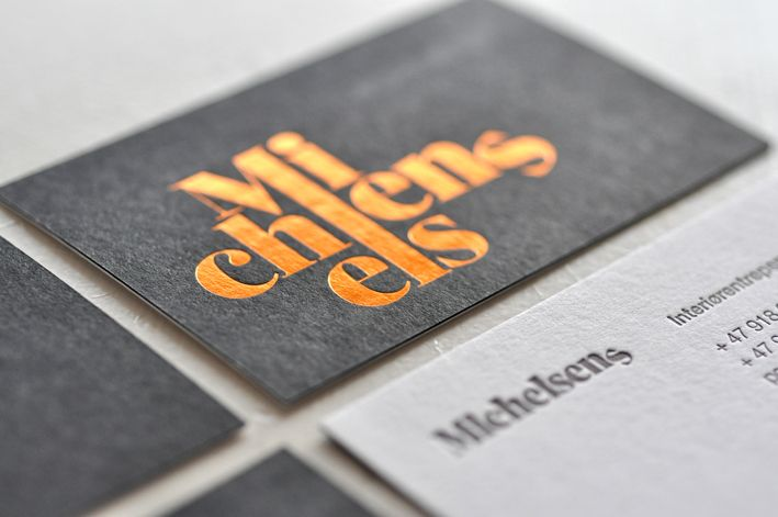 Business card for Michelsens Interiørentrepenør in Bergen, Norway. Design: Hege Jørgensen.