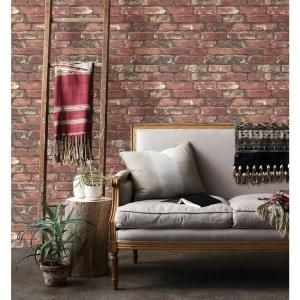 Brewster 56.4 sq. ft. Loft Red Brick Wallpaper FD23287 at The Home Depot - Mobile