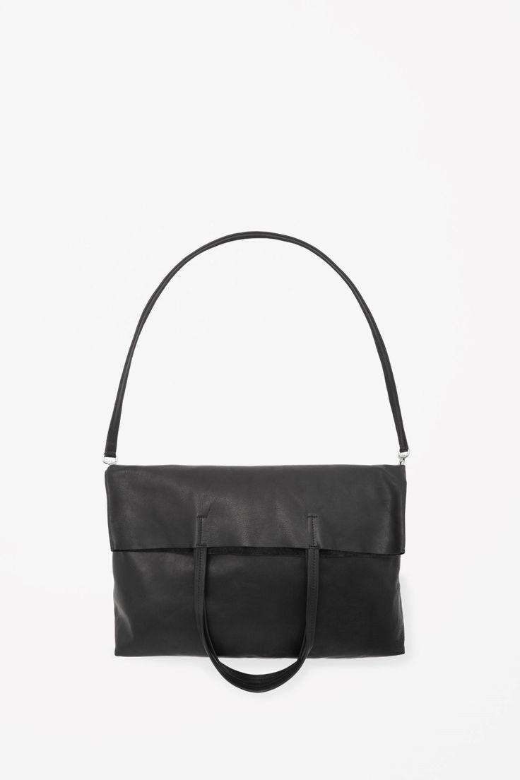 Fold-over leather shopper