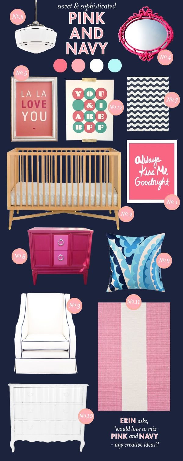 Pink and navy mood board. Never would have thought to put the two colors together but they look great