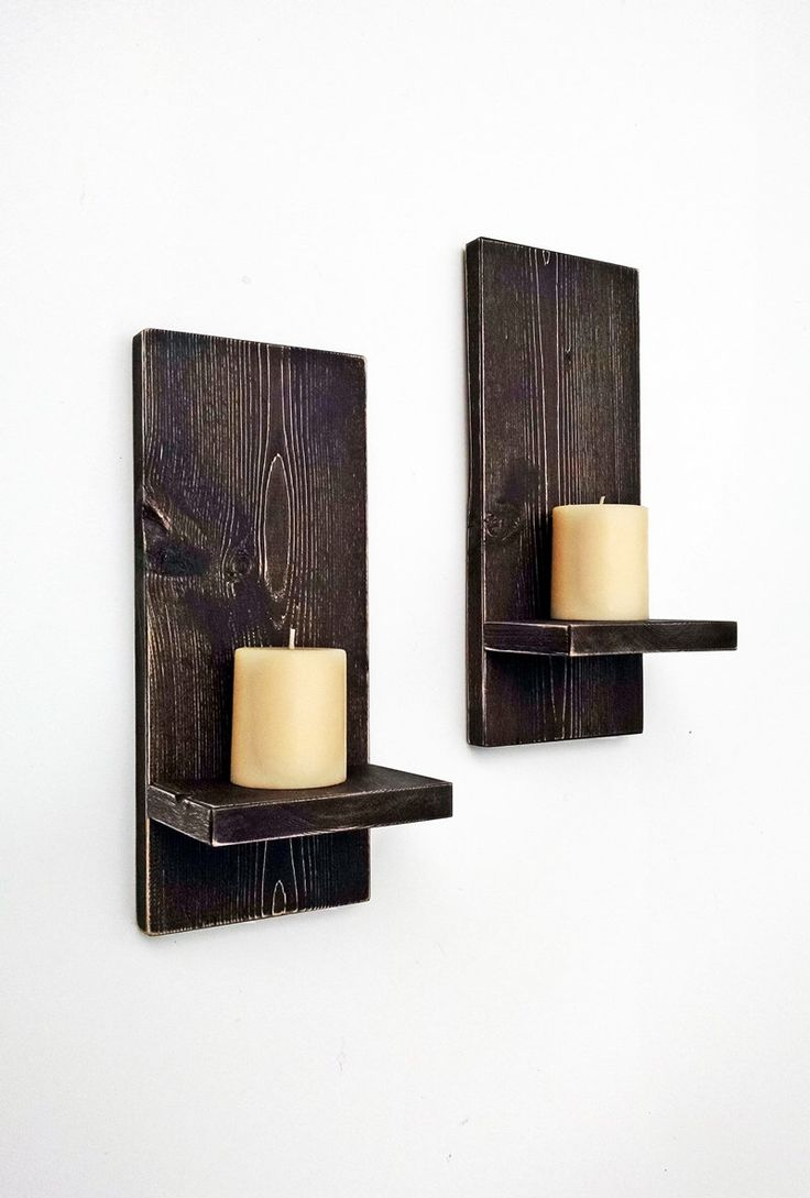 Rustic Wall Sconces (pair) - Wood Wall Candle Holders - Primitive Wall Decor - DARK BROWN Cottage Decor - Candle Shelf by BlueRidgeSawdust on Etsy https://www.etsy.com/listing/205703516/rustic-wall-sconces-pair-wood-wall