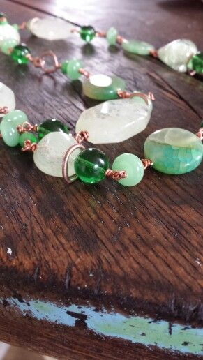 Detail of agate necklace.