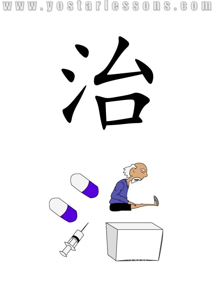 治 = cure. Imagine an sick old man cured by capsules and injection. Detailed Chinese Lessons @ www.yostarlessons.com
