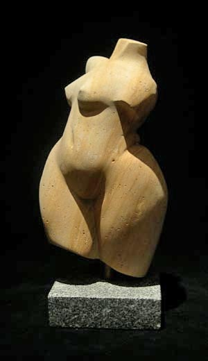 "Female Torso carved from limestone - 14"" tall"