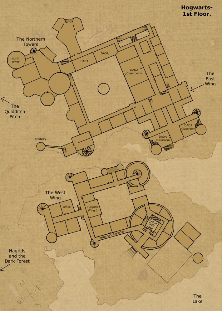 The Ground Floor Map of Hogwarts Castle Dungeon