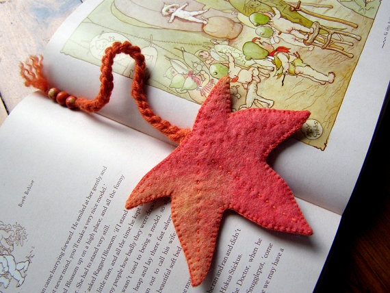 felt bookmark with finger knitted cord and wooden beads