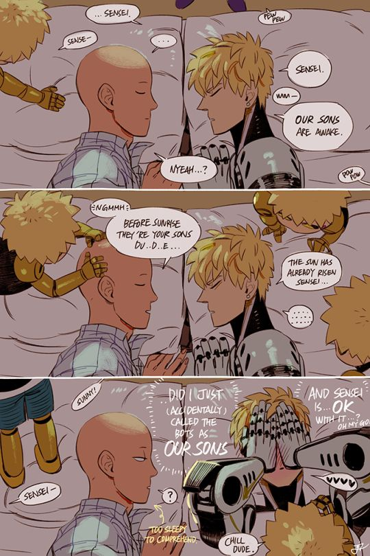 One Punch Man, Genos and Saitama + their sons <3 part 2