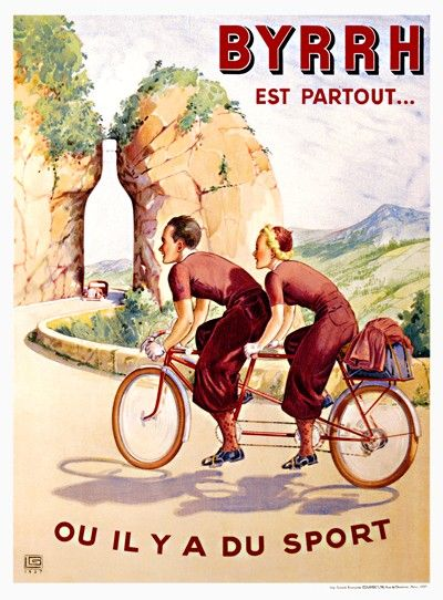 Hey, I found this really awesome Etsy listing at https://www.etsy.com/listing/67364189/byrrh-tandem-bicycle-poster-3-sizes