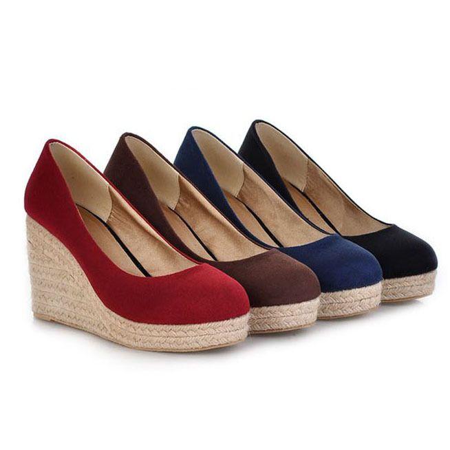 : New Sex High Heels Women Platform Wedge Shoes Round Toe Vintage Flock Wedges for Women High Heels Women Pumps