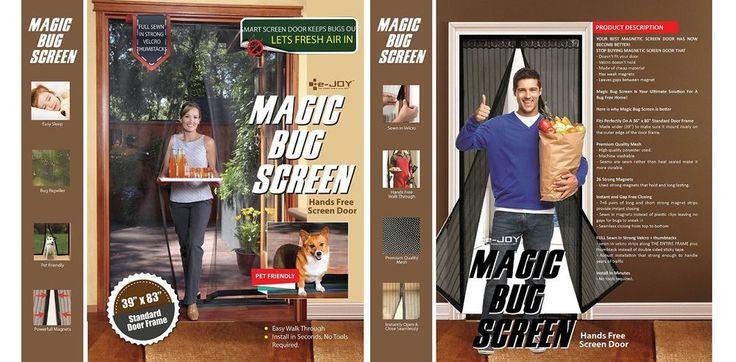 E-joy® Hands-free Retractable Magic Mesh Screen Door 1 Pcs #EJoy