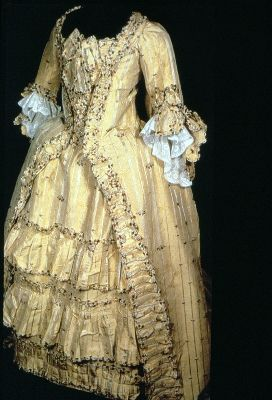 WOW!  Wedding dress, English, c 1774 Said to be the wedding dress of donor's ancestor Mrs Bertha Flemming, nee Marjor, who married Thomas Flemming in 1774. Image Copyright: © Manchester City Galleries