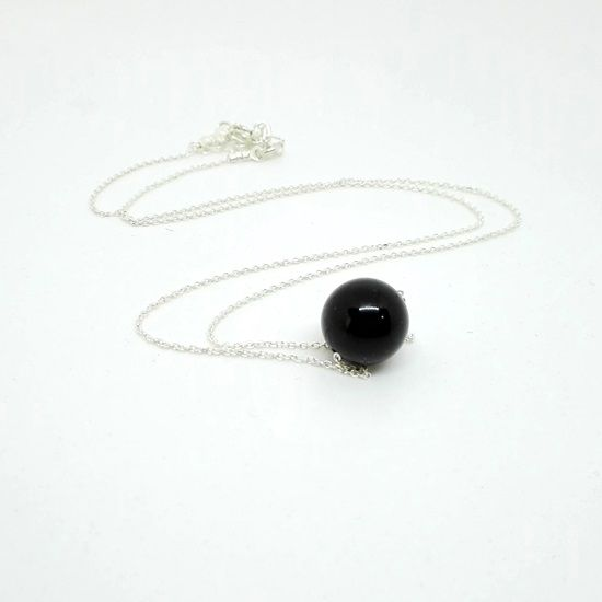 HANDMADE PENDANT BLACK TOURMALINE SILVER with Gemstone of Black Tourmaline in Sphere Shape 10mm and Chain and Clasps of Silver 925 | HEALING JEWELRY | Crystal Pepper