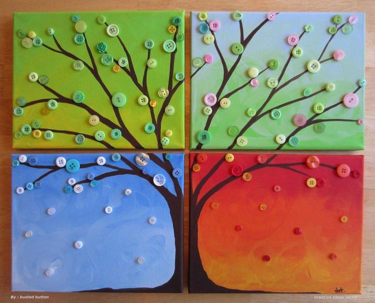 Buttons Craft for the Seasons - this same idea could be done with four different coloured pieces of paper, brown paint for the trunk and q-tip dots for the colours for the different seasons!