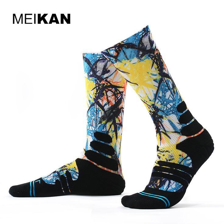 MEIKAN Men Printed Sport Socks Basketball Cycling Road Socks Compression Ankle Sokken Calcetines Ciclismo Hombre Basketball Sock