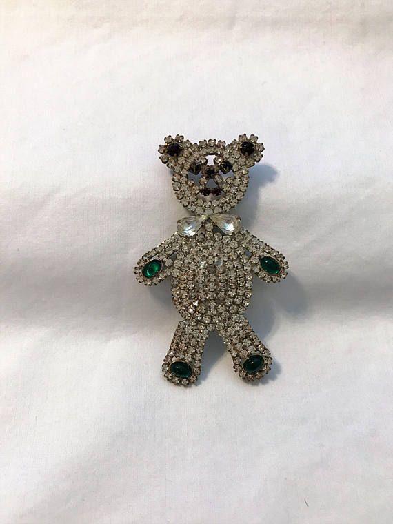 Vintage Crystal Czech Rhinestone Teddy Bear Rhinestone Teddy