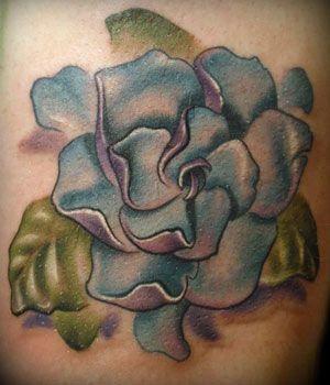 gardenia flower tattoo meaning | Tattoo by Kelly Doty - blue gardenia tattoo .