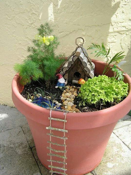Fairy garden in a planter pot