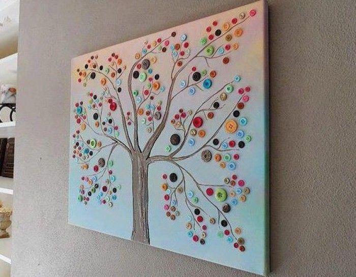 Zelf creatief bezig zijn - fleurig knoopjes schilderij