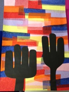 Dry environments cactus art work with tissue paper