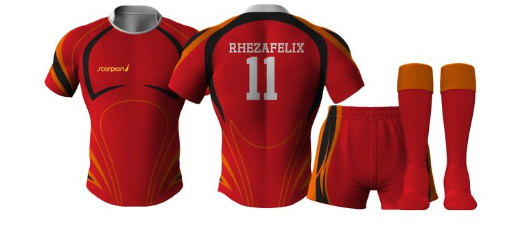 Scorpion Sports Rugby Kit Designer to create your own Rugby Kits online using our standard patterns.
