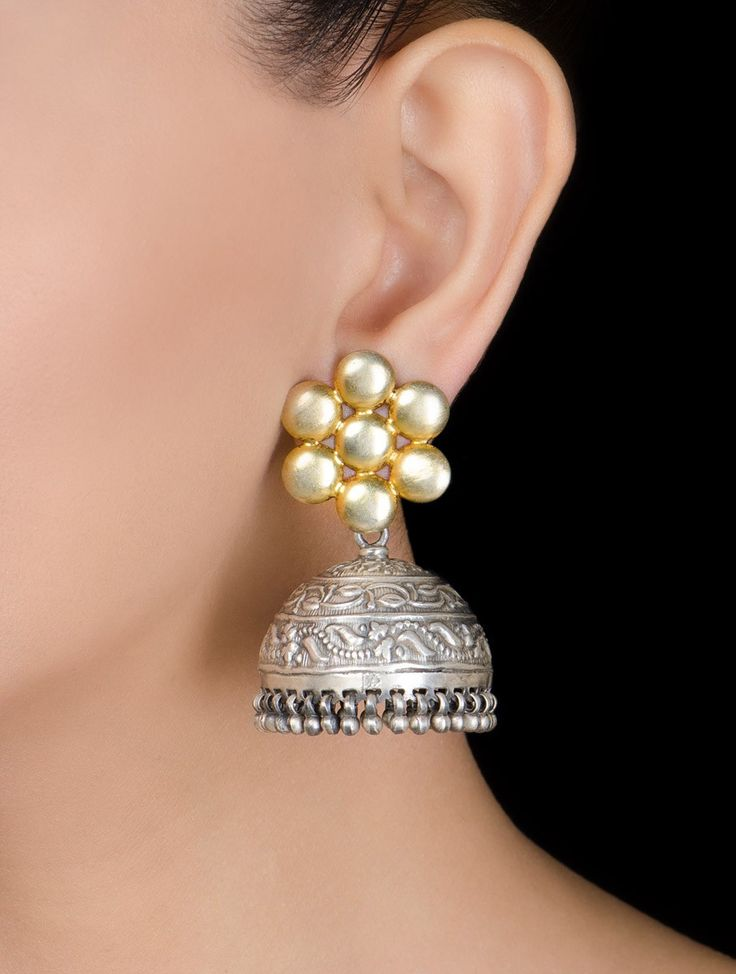 Buy Silver Golden Floral Jhumkis Jewelry Diverse Delights Gold Tone Necklaces Earrings & More Online at Jaypore.com