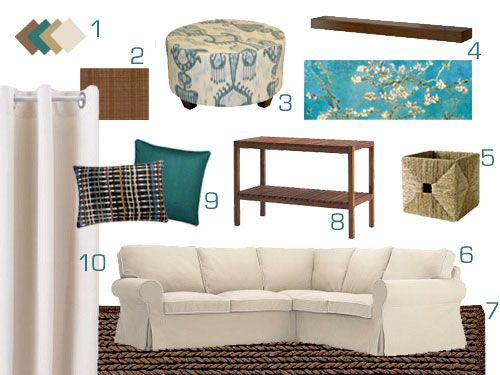 white/teal/brown  | Young House Love