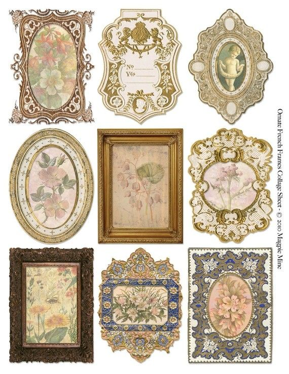 Ornate French Frames with Botanical Prints Collage Sheet - Digital Download