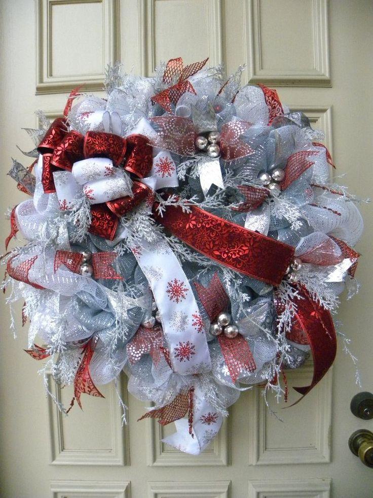 Premium Christmas Mesh Door Wreath Arrangement