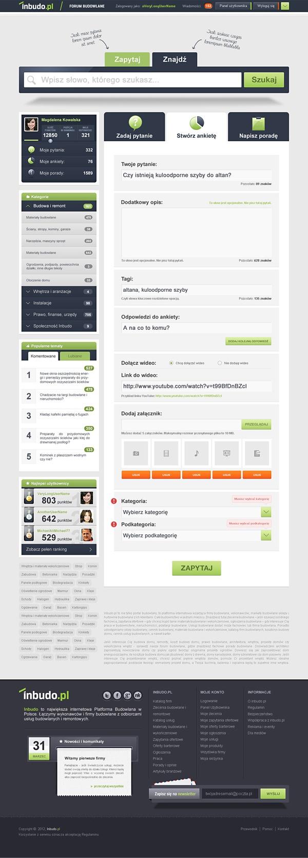 Inbudo.pl - forum budowlane by Rafal Krawczyk, via Behance