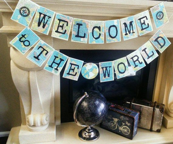 Welcome To The World Banner, world theme baby shower,Welcome Baby Banner Map Banner, Earth Banner,Vintage Travel Theme, Map Theme,Photo Prop