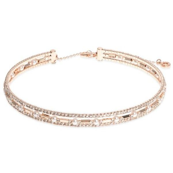 Anne Klein  Rose Gold-Tone Three Row Pearl Choker Necklace ($38) ❤ liked on Polyvore featuring jewelry, necklaces, rose gold, pearl choker necklace, choker necklace, anne klein, white pearl necklace and sparkle jewelry