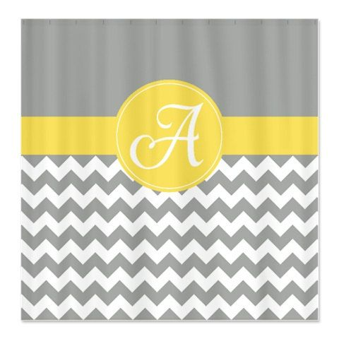 Yellow and Grey Custom Chevron Shower Curtain-Personalized with Monogram Initial-Choose Any Colors-Standard or Extra Long on Etsy, $78.00