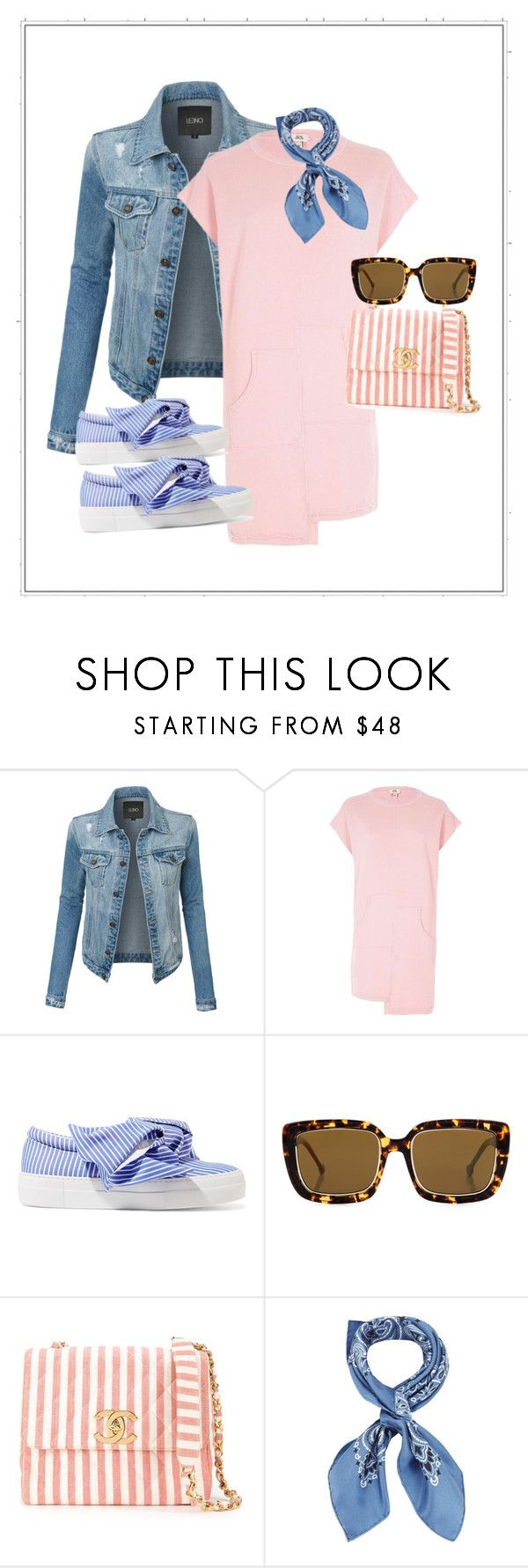 """Pink TShirt Dress"" by kvogele on Polyvore featuring LE3NO, River Island, Joshua's, Preen, Chanel and Manipuri"