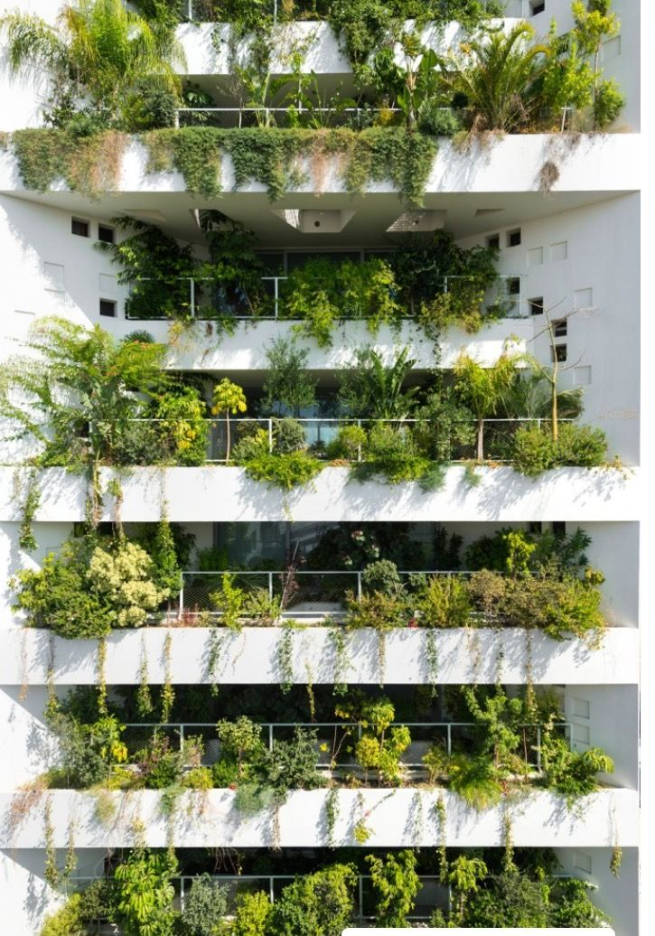 """To suit Cyprus' Mediterranean climate, Ateliers Jean Nouvel designed the building around what it describes as a """"natural brise soleil"""" – a facade where numerous openings are infilled with plants."""